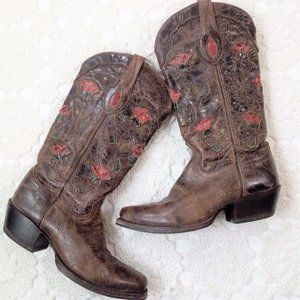 Sonoma 8.5 Cowboy Boots Floral Rose Brown Pink 8.5